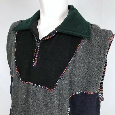 Nepal Made 100% Wool Sweater Vest Mens Large Blue Gray Green Multicolor 1/4 Zip