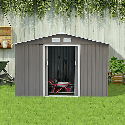 9x6ft Metal Storage House Garden Storage Shed w/ Floor Foundation Patio