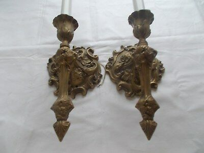 Antique Pair of Decorative Cast Brass Electric Wall Sconces