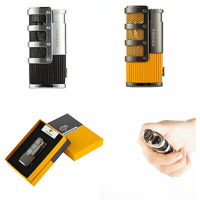 COHIBA Metal Pocket Tripple Jet Fire Windproof Flame Cigar Lighter in Box Punch