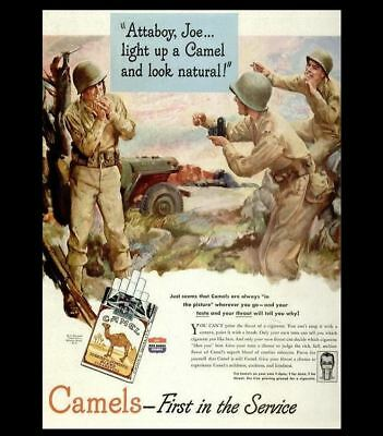Camel Cigarettes Soldiers Ad PHOTO Joe Camel Bar Sign Vintage Ad US Army Soldier