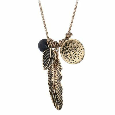 Ancient Gold and Silver Feather Leaf Bead More Pendant Necklace
