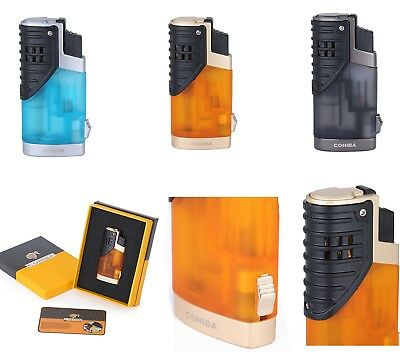COHIBA Metal Pocket Tripple Fire Windproof Jet Flame Cigar Lighter with Punch Bo