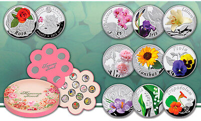 Belarus 2013 10x10 Roubles Beauty of flowers 10x14.14g silver coin Set