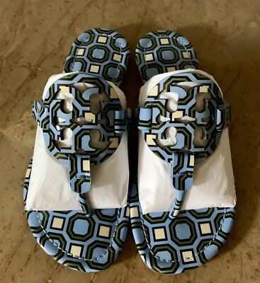 79462d9b7467 Tory Burch MILLER SANDAL Printed Patent Leather Blue Octagon Size 5.5 (New)
