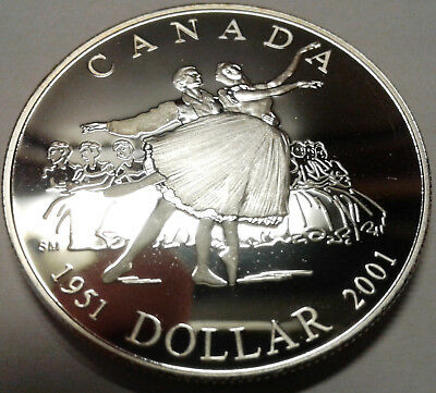 2001 CANADA UNC PROOF SILVER DOLLAR - National Ballet of Canada 50th Anniversary