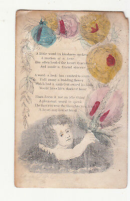 A Little Word in Kindness Spoken Verse  Cupid  Vict Card c1880s