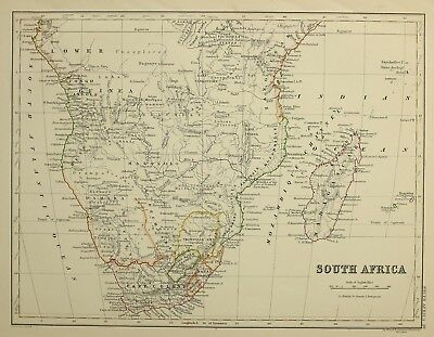 1874 Antique Map South Africa Cape Colony Transvaal Natal Mozambique Damara