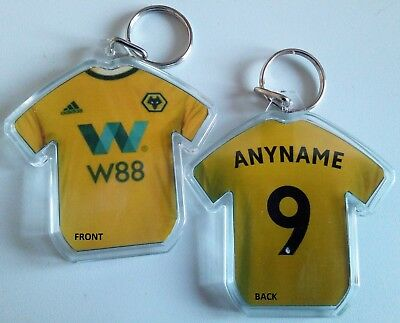 Personlised 2018/19 Football Shirt Keyring. Arsenal, Villa, Wolves, WBA, Man Utd