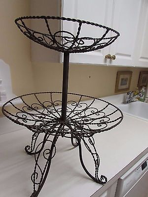 "Vintage Wire Two Tier Plant Holder 22"" Tall Stripped Ready to Paint"