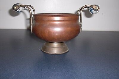 "Vintage Brass and Copper plant holder 4"" Tall and 5"" across w Porcelain Handles"