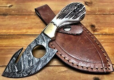 "7"" Custom Made Real Stag Horn Full Tang Damascus Steel Gut Hook Skinner Knife Ca"