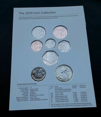 2019 UK Royal Mint Definitive Annual 8 Coin Set - £2 £1 50p 20p 10p 5p 2p & 1p