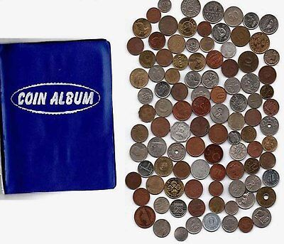 Coin Album with 50 All Different Countries World Foreign Coins lot (1960 -2012)