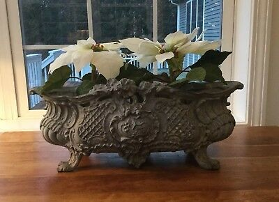 "Antique French Cast Iron Planter Jardiniere Made In Paris 20"" Long"
