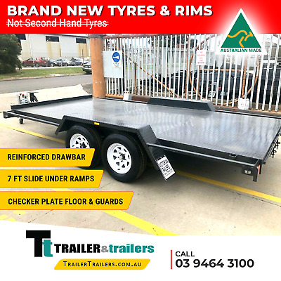 14x6'6 TANDEM AXLE SEMI FLAT CAR CARRIER TRAILER | RAMPS | NEW WHEELS & TYRES