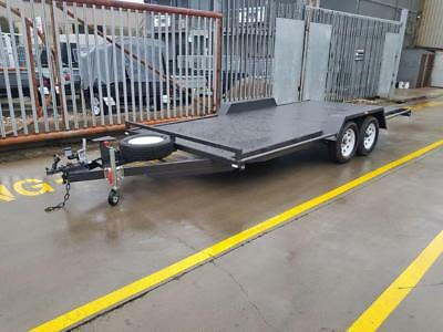 16x6'6 TANDEM AXLE SEMI FLAT CAR CARRIER TRAILER 1990kg GVM -NEW WHEELS + TYRES