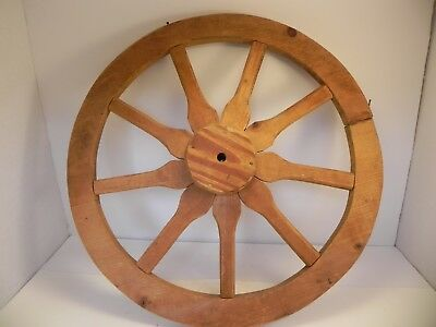 "Set of 2 Antique Primitive Vintage Small Wooden Wagon Cart 18"" Wheels 9 Spokes"