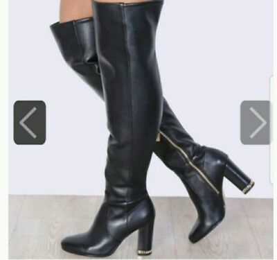 100% top quality best service authorized site MICHAEL KORS SABRINA Over-The-Knee Metal Chain Heel Black ...