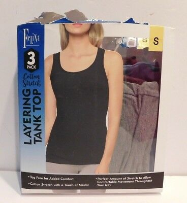 Felina Ladies' 3 pack Layering Tank Top for Women Size SMALL  Blue Plum Gray NEW
