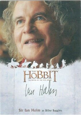 The Hobbit Battle of Five Armies Sir Ian Holm as Bilbo Baggins Autograph Card
