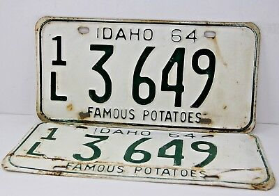 1964 IDAHO License Plate Collectible Antique Vintage Matching Set Pair 1L 3  649