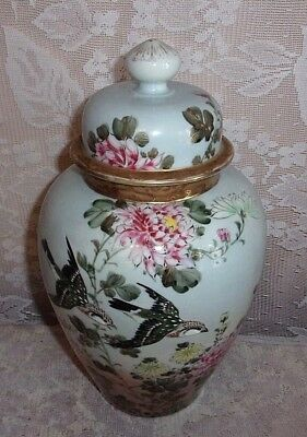 Antique Hand Painted Chrysanthemum And Swallow Large Porcelain Ginger Jar