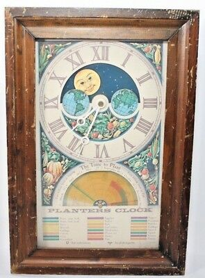 Planters Clock Vintage Moon Dial Planting Calendar In Working Condition Made USA
