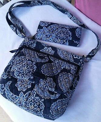 Vera Bradley Blue Bandanna Handbag Crossbody Bag and Tri-fold Wallet Bundle