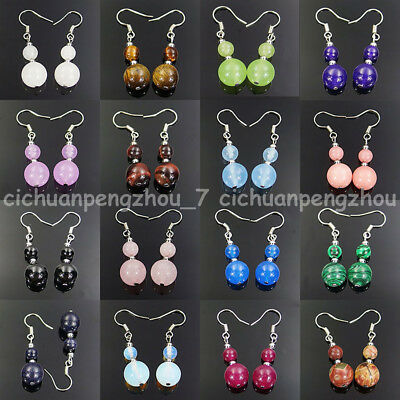 Fashion Assorted Natural  6mm 10mm Gemstone Beads Silver Hook Dangle Earrings