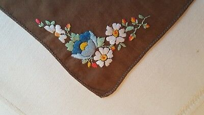 Vintage Lovely Brown w/Embroidered Floral Corners Hankie Handkerchief