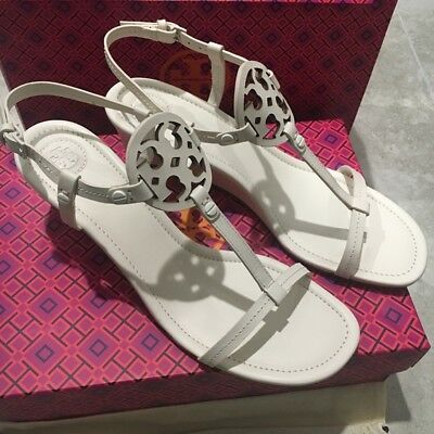 d15f68994a54 Tory Burch MILLER WEDGE LEATHER SANDAL Bleach - U Choose Size 9.5  10   11