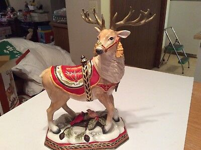 "Fitz & Floyd Damask Holiday Deer Figurine 2016 NIB 15"" Tall"