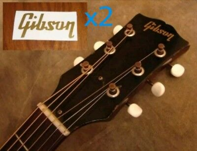 2 Gibson headstock logos - Golden vinyl sticker decals