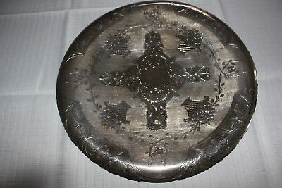 Florentina  .900 Silver Footed Bright Cut  Floral Tray Xlnt Condition No Mono