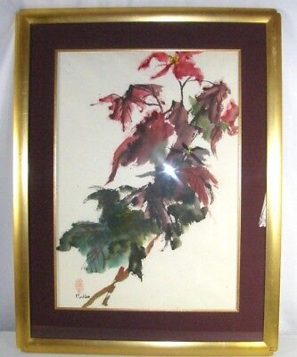 Vintage Japanese Signed Mullen Original Watercolor Japan Wild Flowers