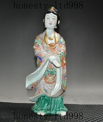 """12"""" Antique Old Chinese folk Wucai porcelain hand made ancient belle girl statue"""