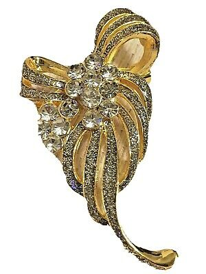 Beautiful Sparkle Crystal Rhinestone Bow Style Gold Tone Lady Women Brooch Pin