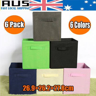 6Pk Folding Fabric Cube Storage Collapsible Bins Box Clothes Organizer Container
