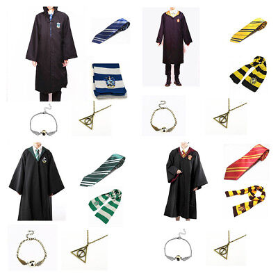 Harry Potter Gryffindor school Robe Cloak Adult or Kid  Cape + Tie +Scarf Cos UK