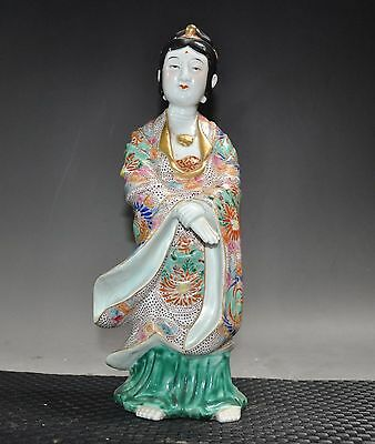 "12""Collection old Chinese Wucai porcelain hand carved Ancient maid statue"
