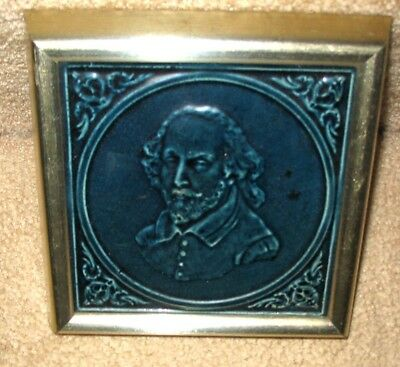 Beautiful Antique Framed Art Pottery Tile 19th Century, Shakespeare