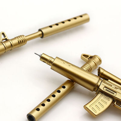 Novelty Gold Rifle Shape Black Ink Ballpoint Pen Stationery Office Ball Point