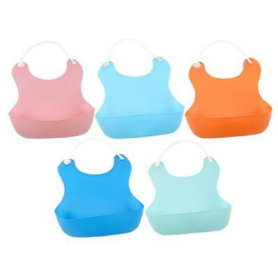Waterproof Silicone Bib Baby Feeding Washable Catcher Eating Kid Pocket FW
