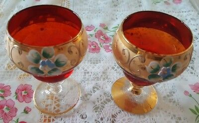 Moser Style Bohemian Czech Cranberry Gold Encrusted Wine Glass Glasses Set RARE