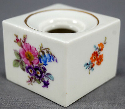 Antique Meissen Hand Painted Floral & Gold Small Inkwell Circa 1860 - 1924