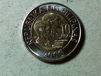 Philippines 10 piso 2000 uncirculated bi-metallic coin Millenium