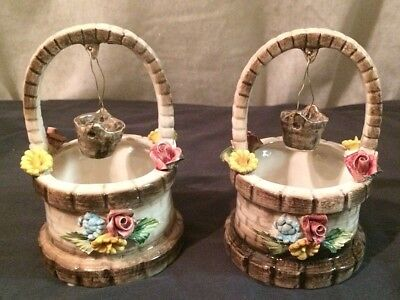 Vintage Capodimonte Set 2 Wishing Well Basket Bucket Pink Rose Flower Italy 6.5""