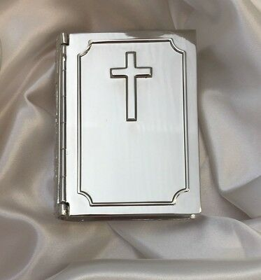 NEW Religious Silver Bible Box with Cross Christening Baptism Holy Communion