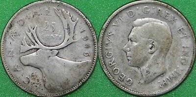 1946 Canada Silver Quarter Graded as Very Good